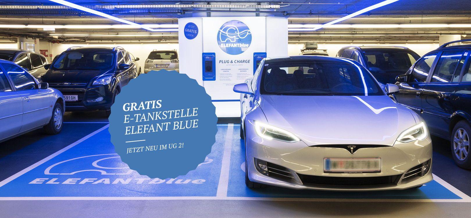 Elefant Blue E-Tankstelle im Kaufhaus Tyrol