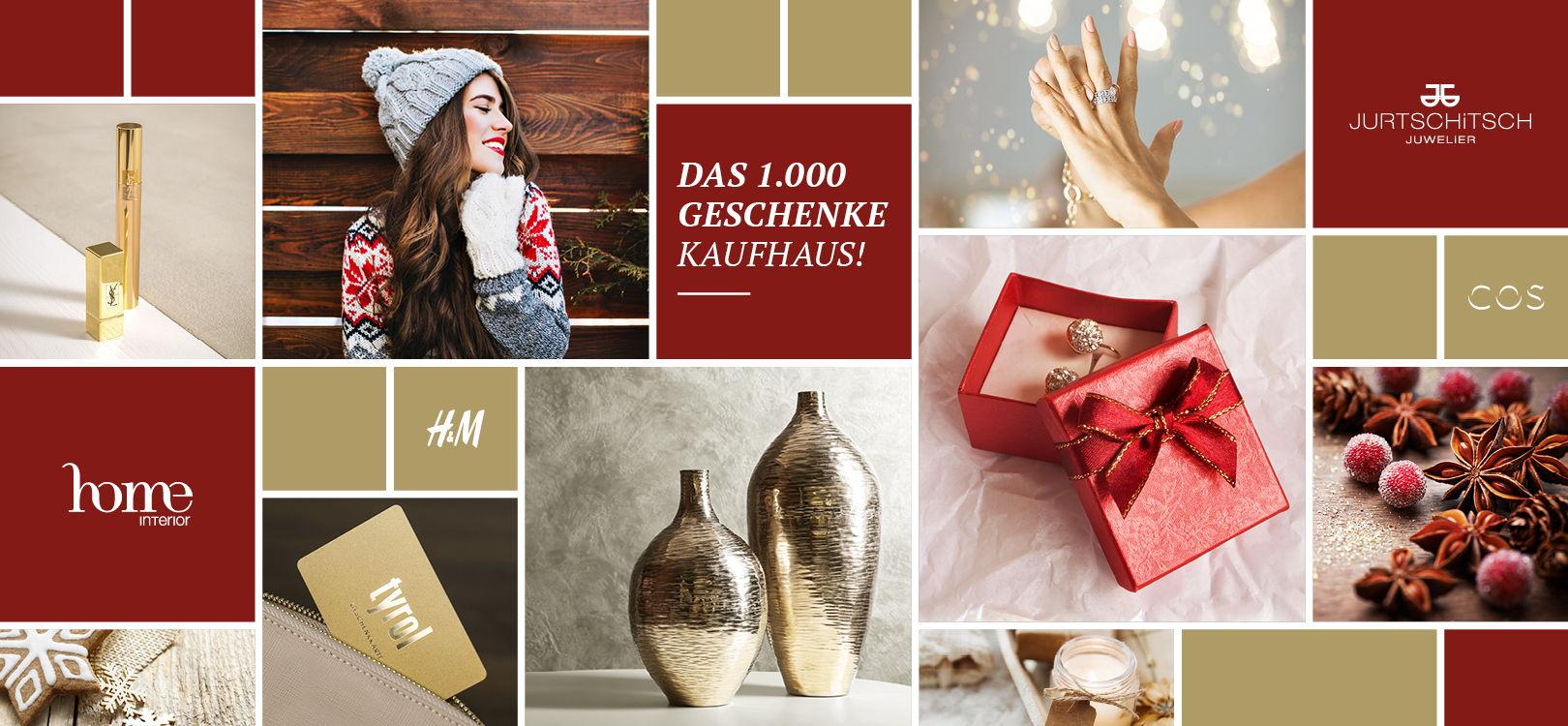 Slider Weihnachten im Kaufhaus Tyrol, 1000 Geschenke Kaufhaus